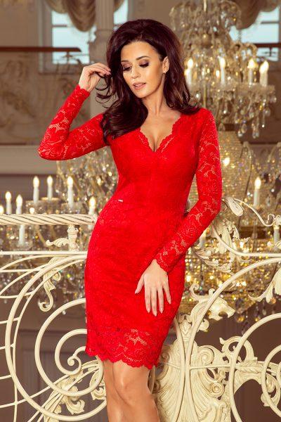 Červené čipkované šaty s výstrihom a dlhými rukávmi