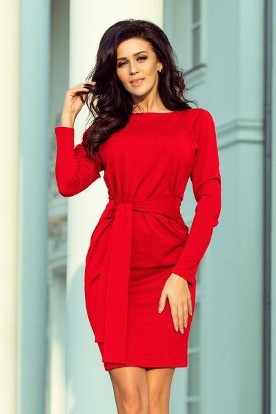 Červené šaty so širokým viazaním v páse