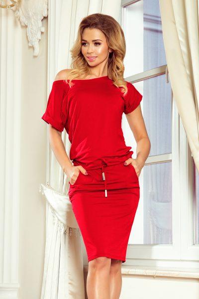 Červené športové šaty s krátky rukávom a spadnutými ramenami
