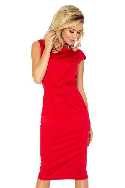Červené elagantné šaty so zvýšeným pásom a vreckami