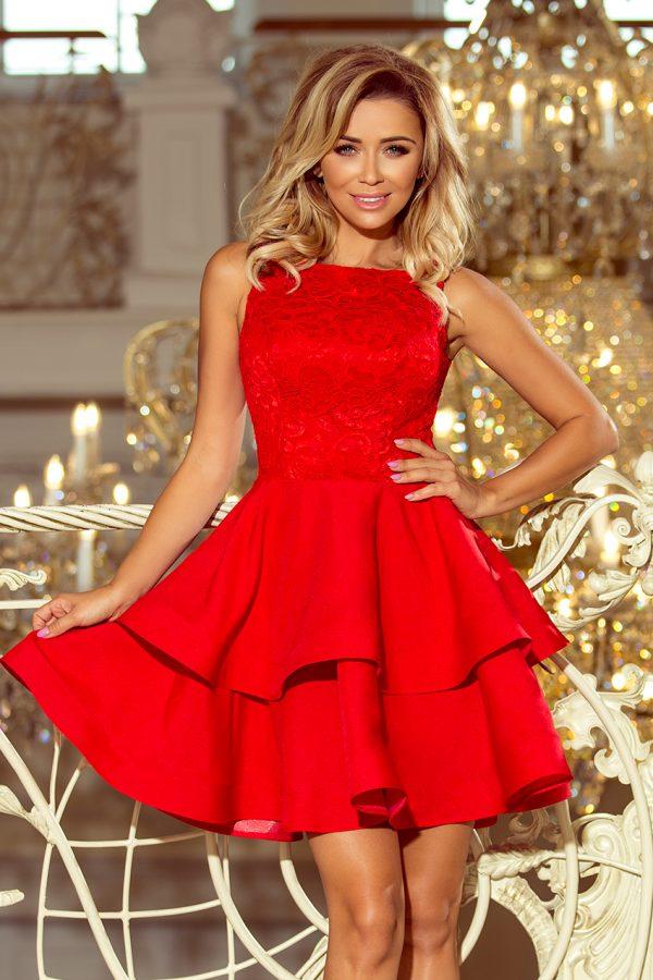 Červené elegantné šaty s dvojitou sukňou