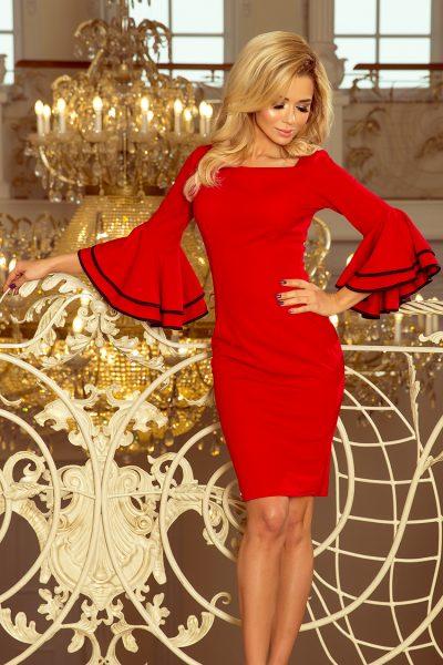 Červené elegantné šaty so španielskymi rukávmi a čiernym lemovaním