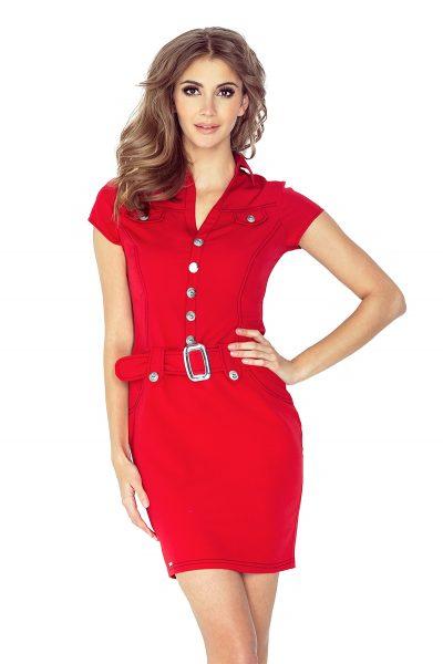 Červené krátke šaty s gombíkmi a sponou