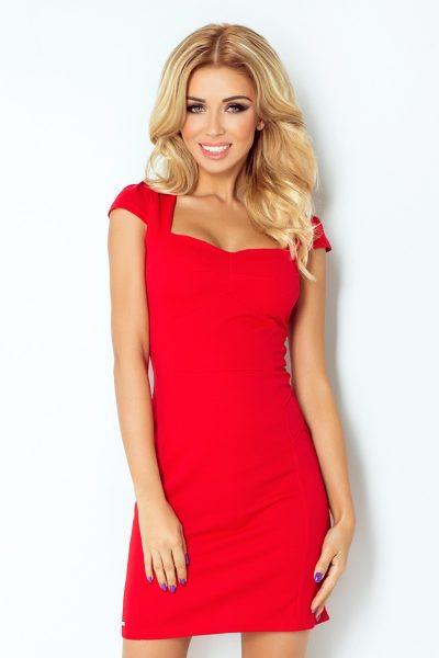 Červené krátke letné šaty s výstrihom