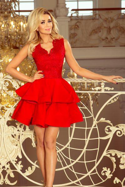 Červené krátke spoločenské šaty s čipkovaným výstrihom