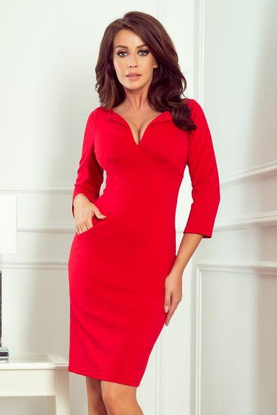 Červené puzdrové šaty s výstrihom a vreckami