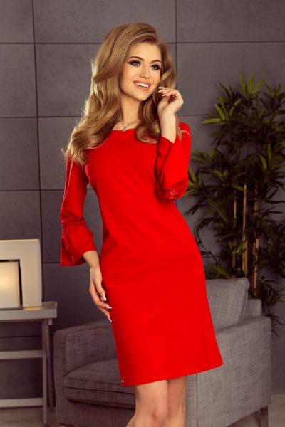 Červené voľné šaty s čipkou na rukávoch