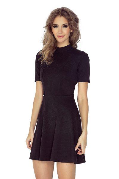 Čierne šaty s golierom a krátkym rukávom
