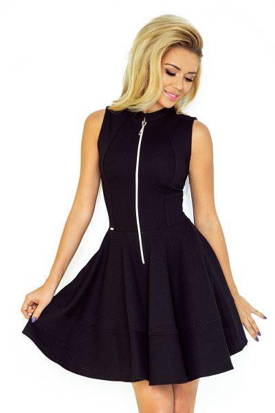 Čierne šaty so zipsom a vreckami