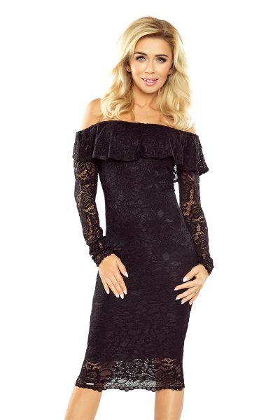 Čierne španielske čipkované šaty s dlhými rukávmi