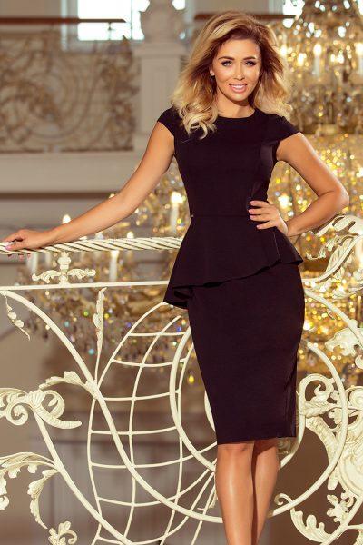 Čierne elegantné šaty s asymetrickým lemom a krátkymi rukávmi