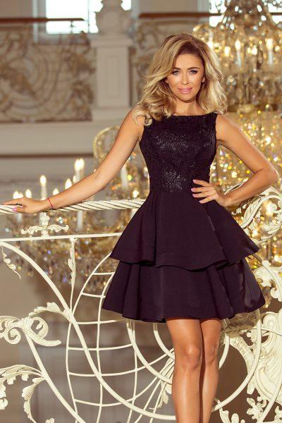Čierne elegantné krátke šaty s dvojitou sukňou