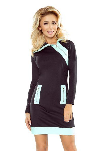 Čierne krátke šaty s mentolovými zipsami