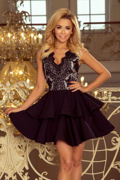 Čierne krátke spoločenské šaty s čipkovaným výstrihom