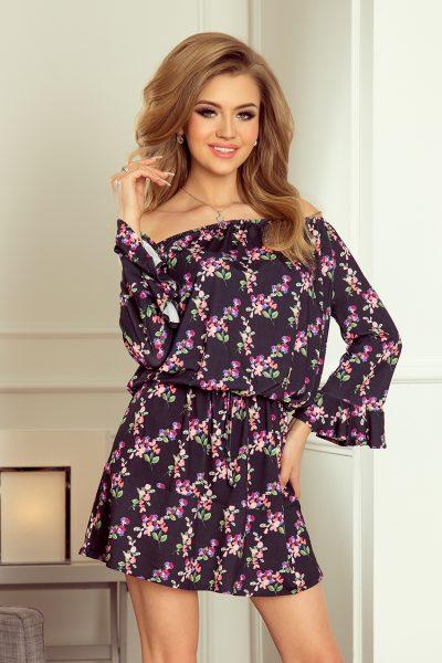 Čierne letné šaty so spadnytými ramenami a kvetovaným vzorom