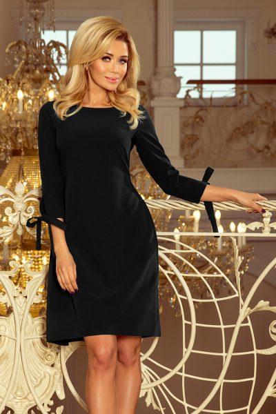 Čierne puzdrové voľné krátke šaty s mašľami