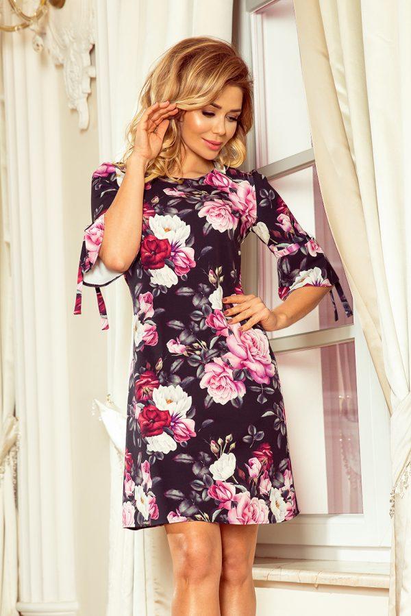 Čierne voľné lichobežníkové šaty s rozšíreným rukávom a kvetmi