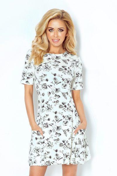 Béžové kvetované šaty s vreckami