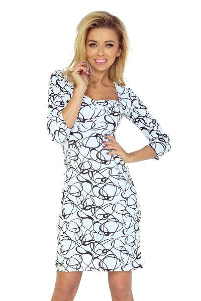 Bielo čierne elegantné šaty s 3/4 rukávom a vzorom