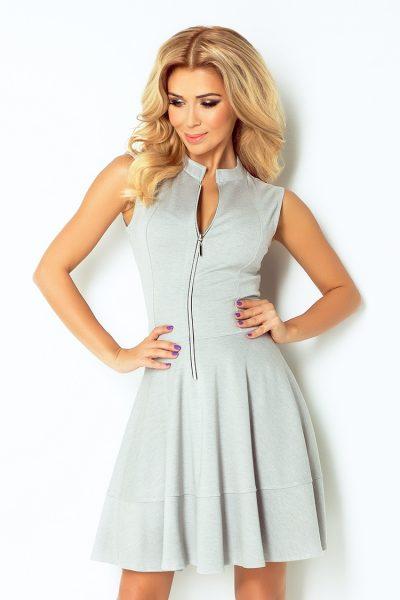 Bledo sivé šaty so zipsom a vreckami