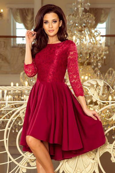 Bordové čipkované šaty s predľženou sukňou