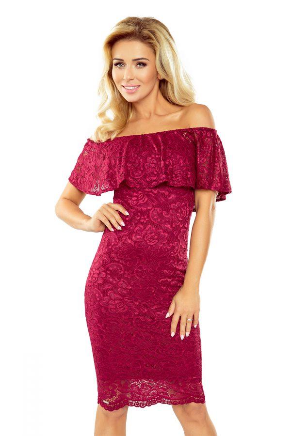 Bordovo červené španielske čipkované šaty