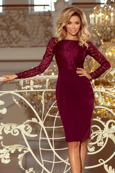 Bordovo červené elegantné čipkované šaty