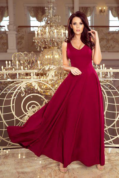 Bordovo červené elegantné šaty s výstrihom a bez rukávov