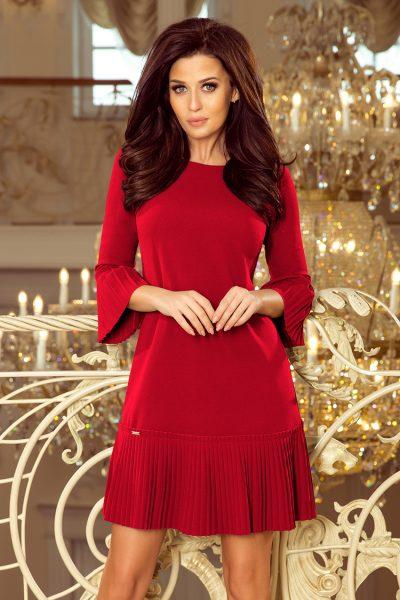 Bordovo červené elegantné krátke šaty s rozšírenými rukávmi