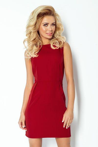 Bordovo červené krátke voľné šaty so záhybmi v páse