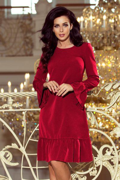 Bordovo červené voľné skladané šaty s rozšírenými rukávmi