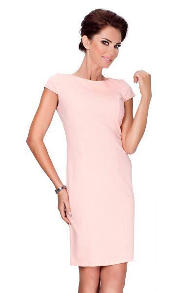Broskyňové elegantné šaty s krátkym rukávom