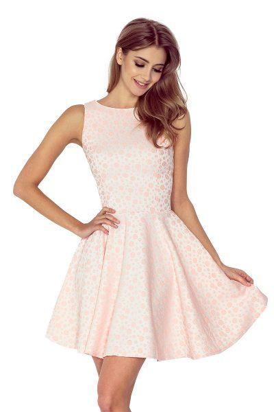 Broskyňové rozšírené krátke šaty s bodkami