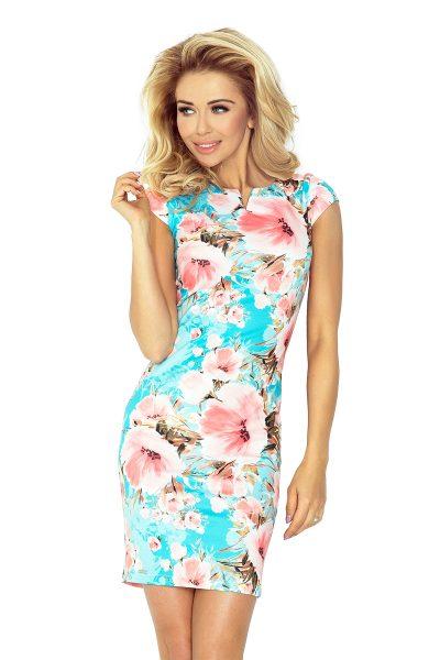 Farebné šaty s malým výstrihom a pestrými kvetmi