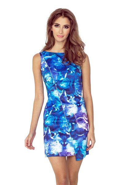Farebné asymetrické šaty s lemovaním a veľkými kvetmi