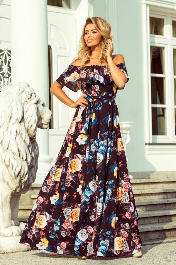 Farebné dlhé letné šaty so španielskym výstrihom a kvetmi
