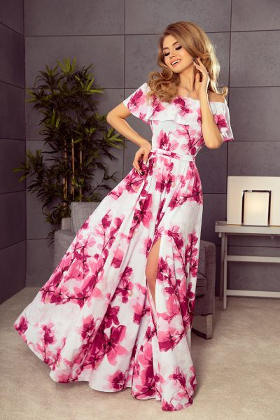 Farebné dlhé letné šaty so španielskym výstrihom a  ružovými kvetmi