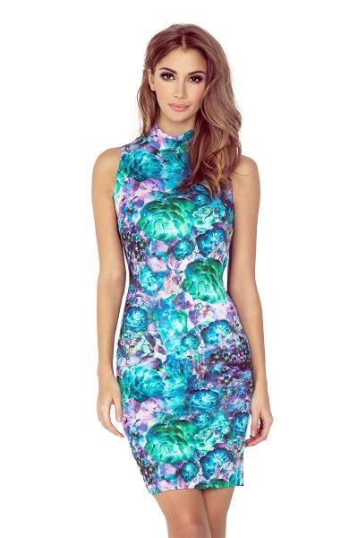 Farebné krátke šaty s golierom a kvetinami