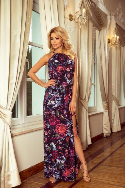 Farebné kvetované letné maxi šaty s viazaním na krku