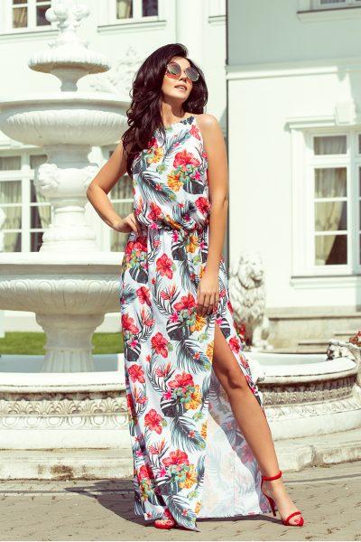 Farebné letné maxi šaty s viazaním na krku a kvetovaným vzorom