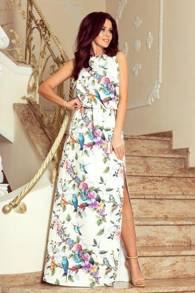 Farebné letné maxi šaty s viazaním na krku a vzor ruže a modré vtáky