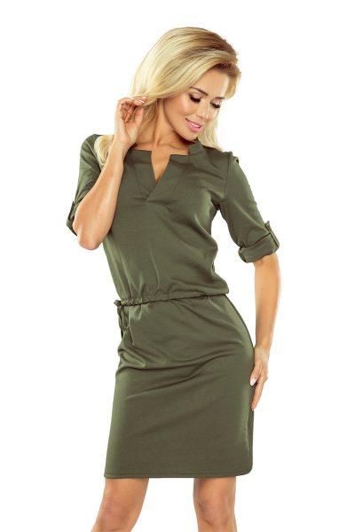 Khaki elegantné šaty s golierom