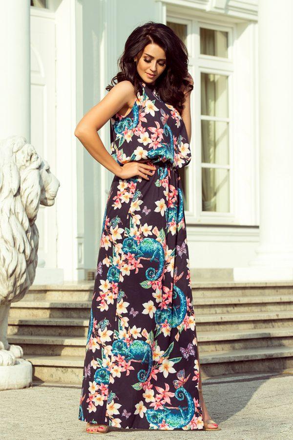 Kvetované čierne letné maxi šaty s viazaním na krku