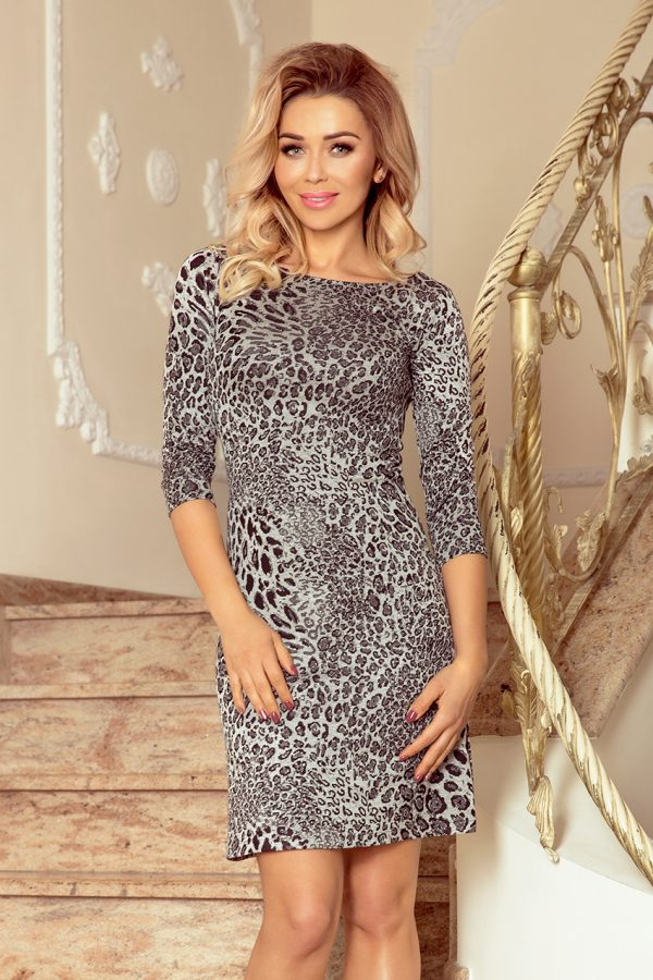 Leopardie šaty s 3/4 rukávmi
