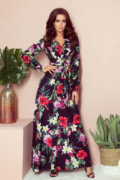Letné farebné maxi šaty s volánikmi a vzorom z čevených kvetov