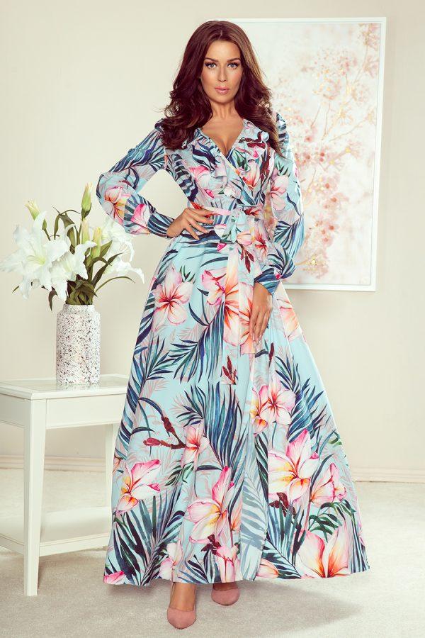 Letné farebné maxi šaty s volánikmi a vzorom z kvetov