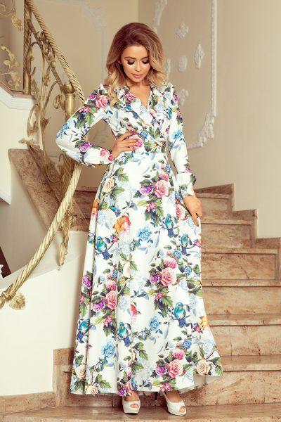 Letné farebné maxi šaty s volánikmi a vzorom z kvetov a vtákov