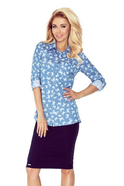 Modrá rifľová košeľa s bielymi motýlmi