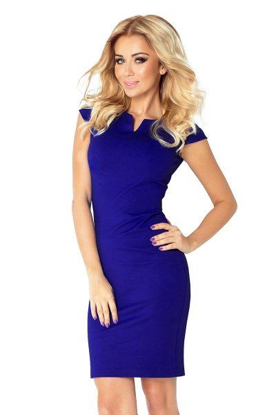Modré šaty s malým výstrihom