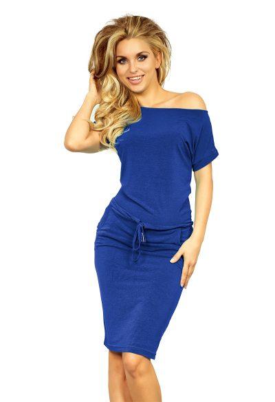 Modré športové šaty s krátky rukávom a spadnutými ramenami